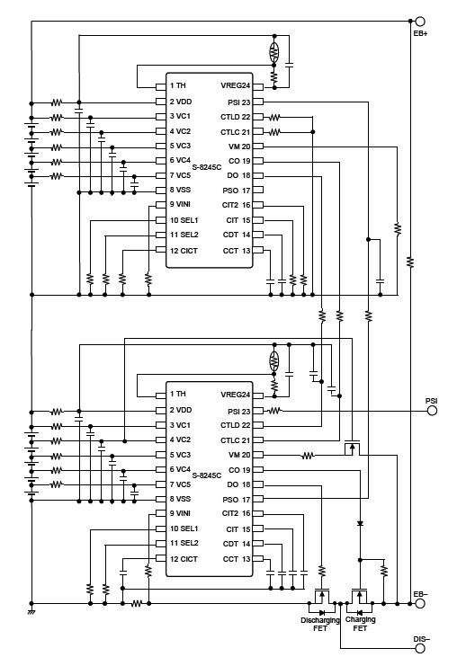 This figure shows an example of a 10-cell protection circuit using the S-8245C Series.