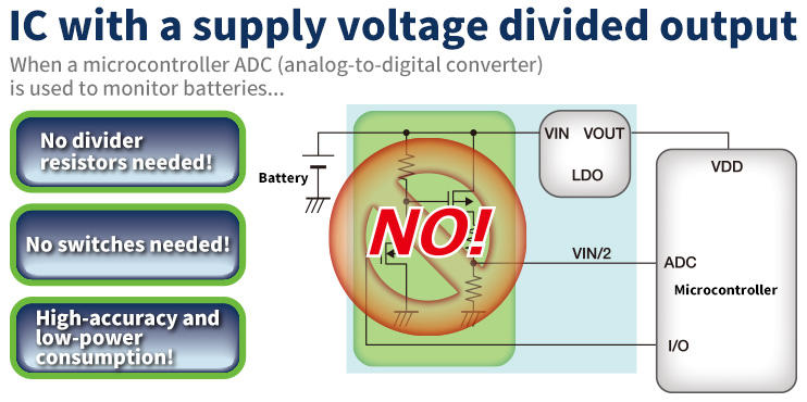 """simple battery monitoring! ic with a """"supply voltage divided output""""!"""
